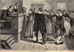 New England Literary Tour Salem Processo Una litografia del processo delle streghe di Salem.