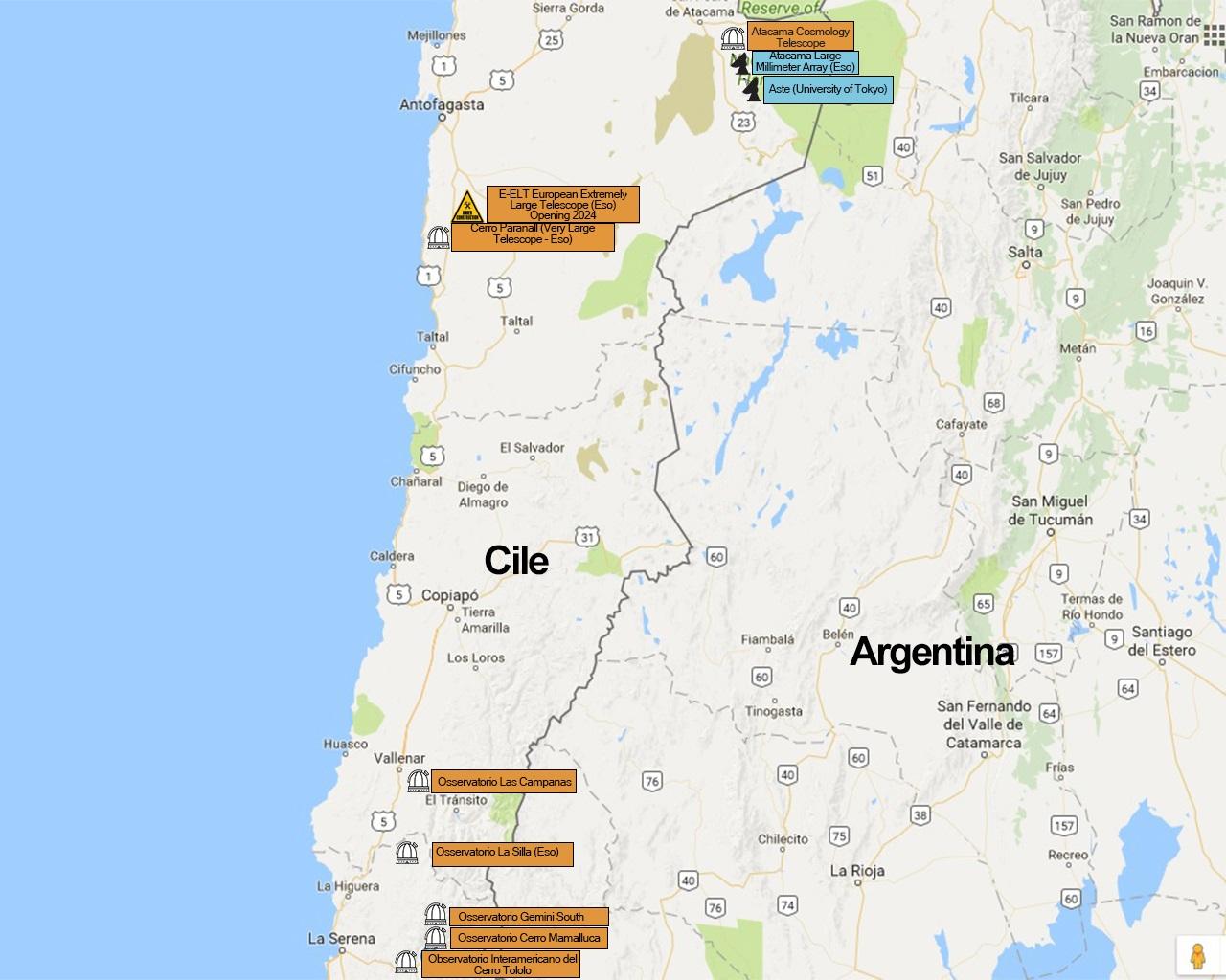 osservatori astronomici del Cile Mappa
