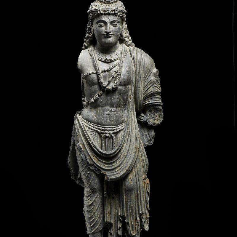 Statua del Bodhisattiva con influenze ellenistiche, Regno di Gandhara, II-III° sec. d.C.