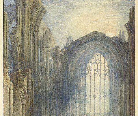 William Turner,, Abbazia di Melrose, 1822. Acquarello su carta di tela. 19.7 x 13.5 cm. © The Clark Art Institute.