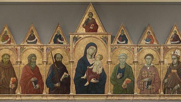 Ugolino di Nerio, Polittico con Madonna, Gesù Bambino e Santi, 1317-1321. Tempera e oro su pannello, 163.7 x 341.4 cm. © The Clark Art Institute.