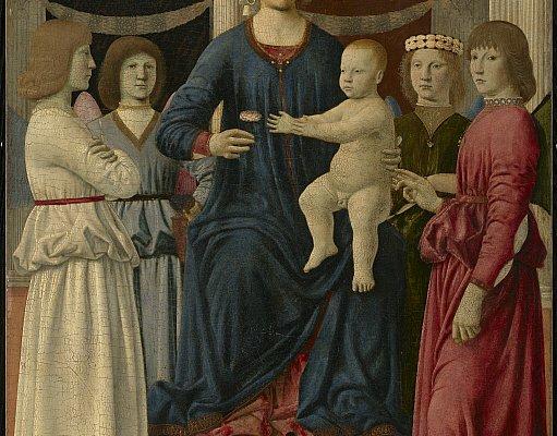 Piero della Francesca, Madonna col Bambino e quattro santi, 1460 -1470. Olio su tempera, 107.8 x 78.4 cm. © The Clark Art Institute.