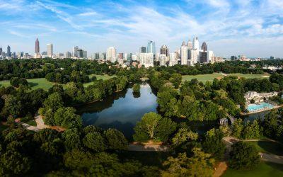 Atlanta Skyline with lake Lake Clara