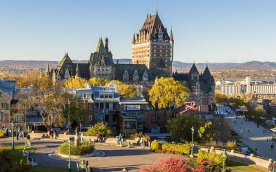 The Frontenac Castle in Old Quebec City in the beautiful autumn season