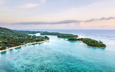 Muri Lagoon at sunrise from an aerial or birds eye view in Rarotonga the main island in the Cook Islands
