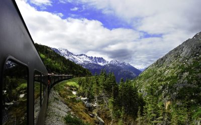 A vintage train out of Skagway Alaska to White Pass Alaska