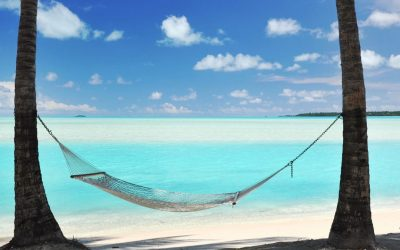 A Hammock hanging from palm trees, the shade of Coconut Palms beside a perfect turquoise lagoon beach ocean on a paradise vacation