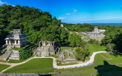 Palenque ruins in Mexico. Panoramic view