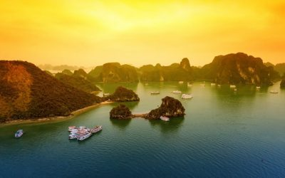 Vietnam Halong Bay beautiful sunset landscape background
