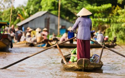 Vietnamese fruits seller - woman rowing boat in the Mekong river delta & selling fruits, Vietnam.
