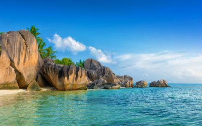 tropical anse source d'argent beach on la digue island seychelles