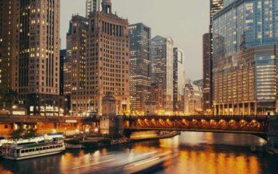 DuSable bridge at twilight, Chicago, Illinois, USA.