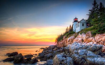 A beautiful sunset @ Bass Harbor, Acadia National Park, Maine, USA