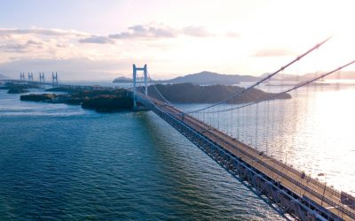 Aerial view of a sunset over the Great Seto bridge, Japan, December 2017