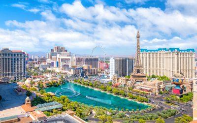 LAS VEGAS, USA - JULY 14 : World famous Vegas Strip in Las Vegas, Nevada on July 14, 2016 in Las Vegas, USA