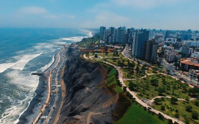 Panoramic aerial view of Miraflores town in Lima, Peru
