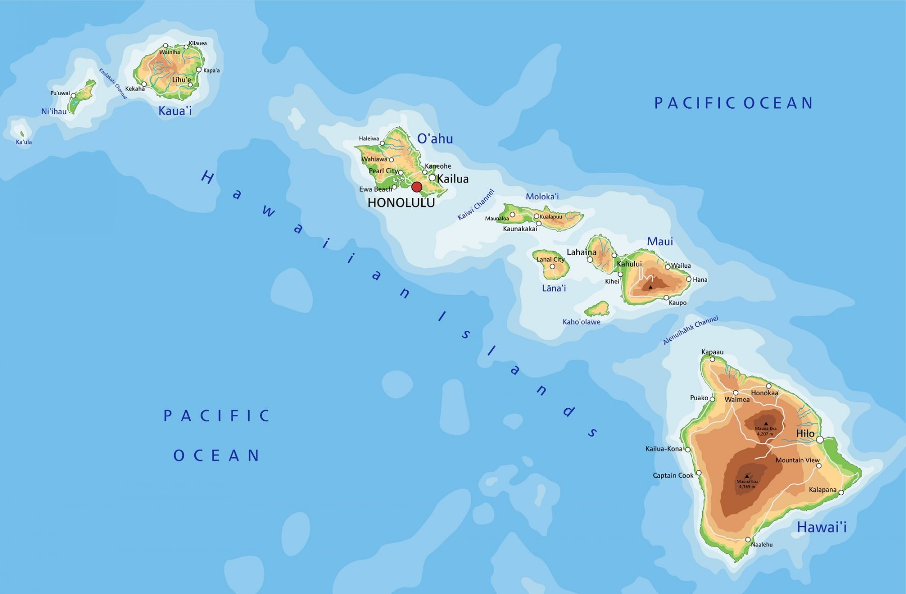 Mappa Hawaii Honolulu