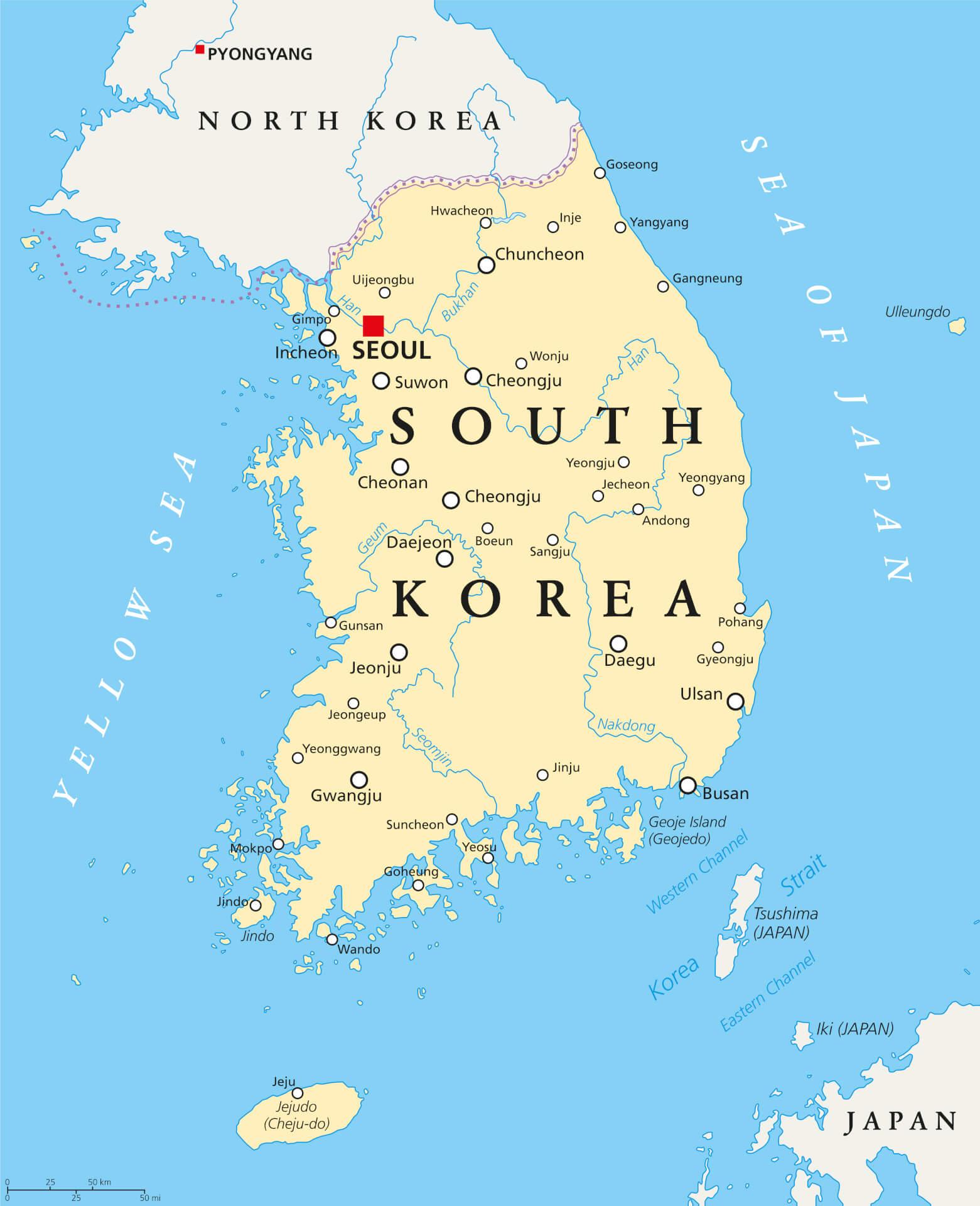 Viaggio in Corea del Sud mappa
