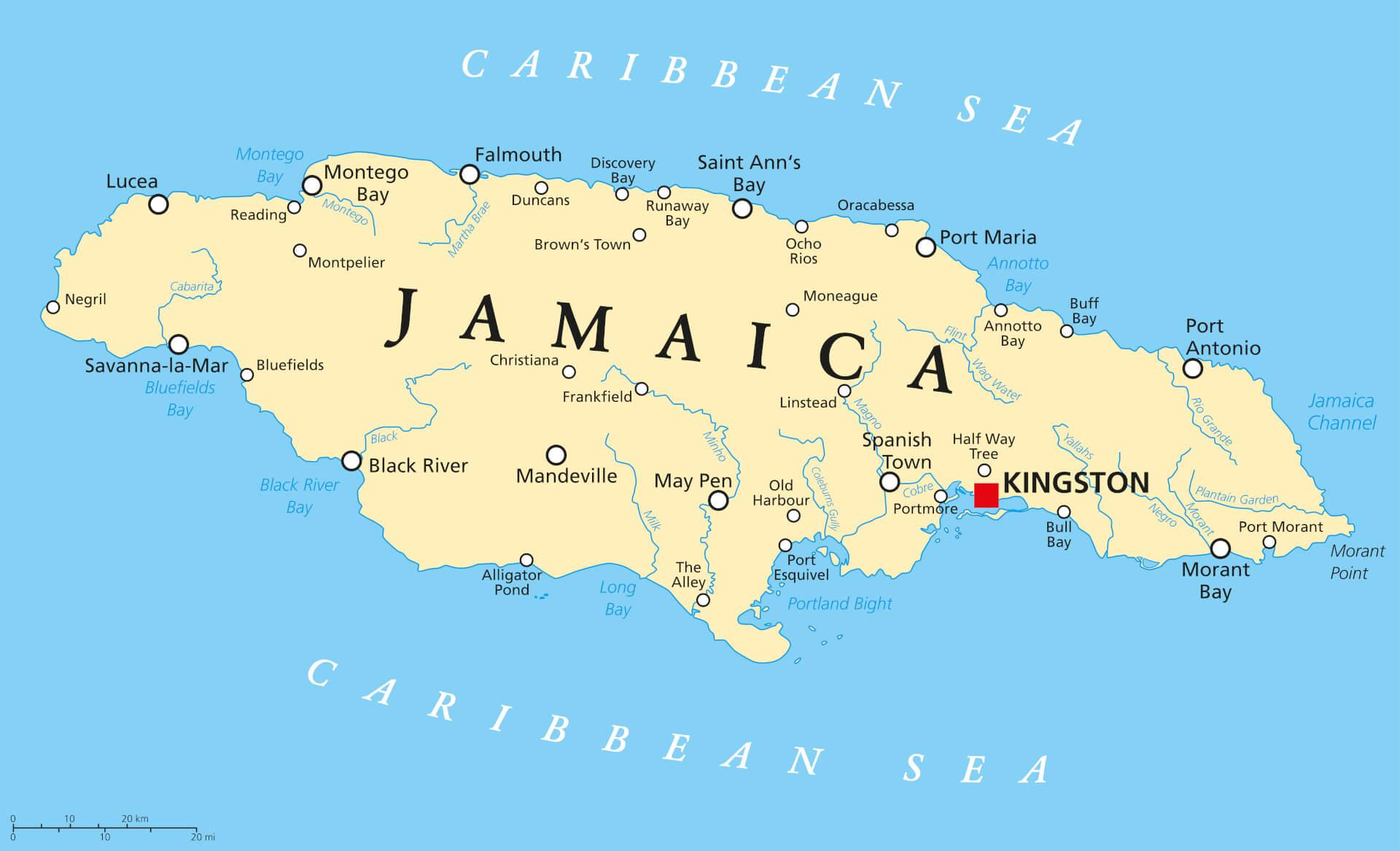 Viaggio in Giamaica Mappa
