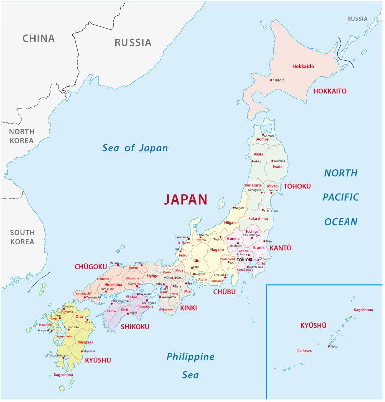 Viaggio in Giappone Mappa