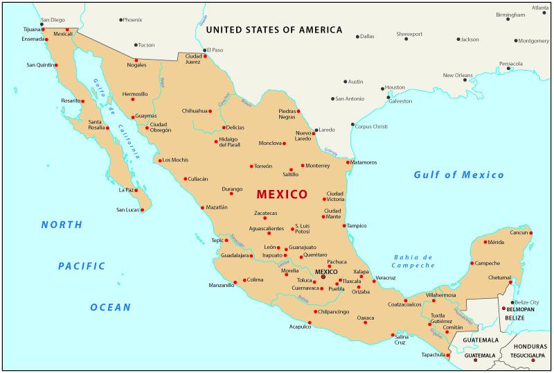 Viaggio in Messico Mappa