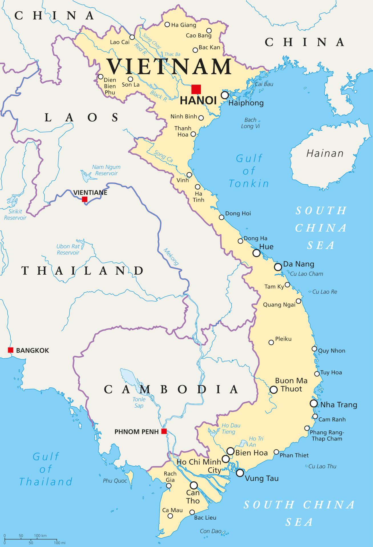 Viaggio in Vietnam mappa