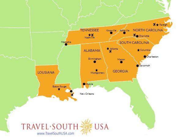 Viaggio nel South USA Mappa