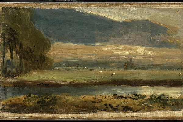John Constable,, La chiesa di Dedham da Flatford, 1810. Olio su tela, 10.6 x 19.4 cm. © The Clark Art Institute.