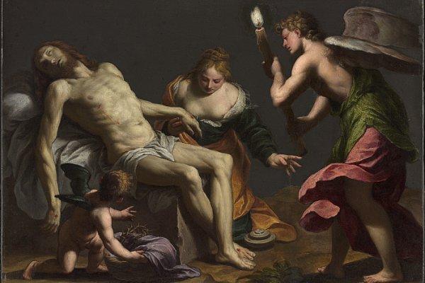 Alessandro Turchi, Lamentazione sul Cristo morto, 1645-1650. Olio su tela, 25 × 35 cm. © The Clark Art Institute.