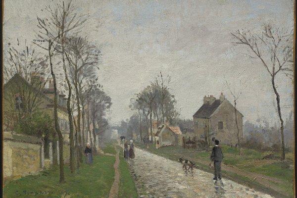 Camille Pissarro, Route de Versailles a Louveciennes, con la pioggia