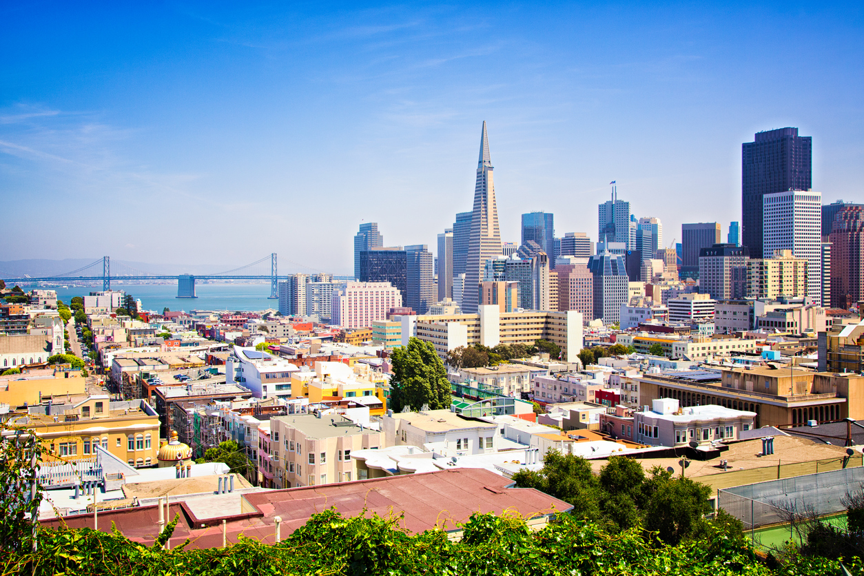 San Francisco downtown skyline with bay bridge