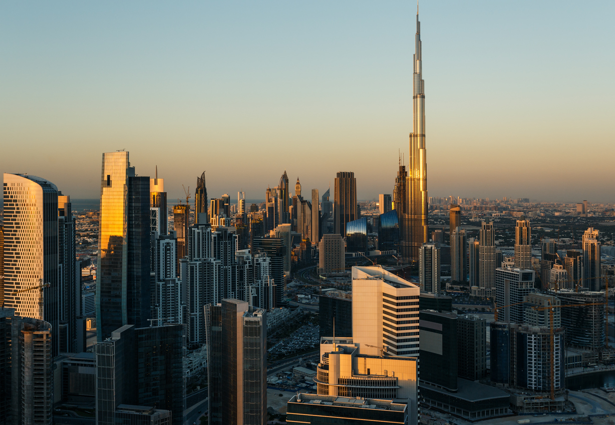Modern architecure of Dubai, UAE, at sunset.